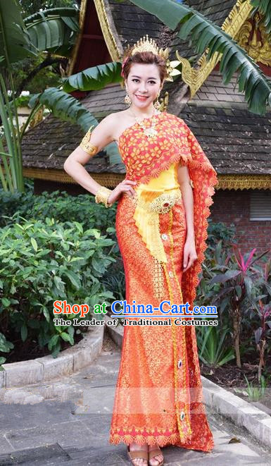 Traditional Traditional Thailand Princess Clothing, Southeast Asia Thai Ancient Costumes Dai Nationality Wedding Red Sari Dress for Women
