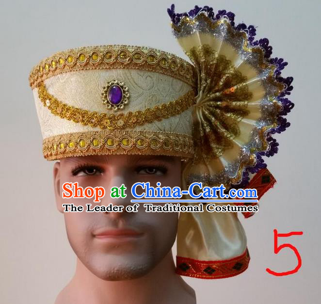 Traditional Traditional Thailand Accessories Purple Crystal Hat, Southeast Asia Thai Dai Nationality Headwear for Men