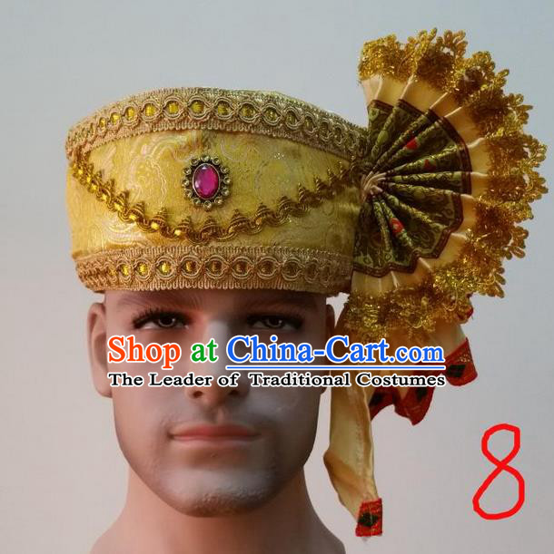 Traditional Traditional Thailand Accessories Pink Crystal Hat, Southeast Asia Thai Dai Nationality Headwear for Men