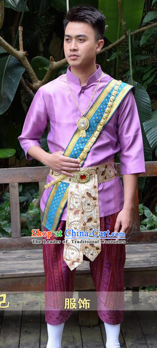 Traditional Traditional Thailand Male Clothing, Southeast Asia Thai Ancient Costumes Dai Nationality Purple Shirt and Pants for Men