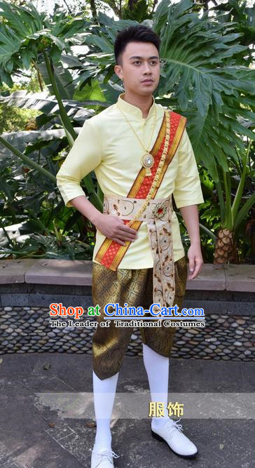 Traditional Traditional Thailand Male Clothing, Southeast Asia Thai Ancient Costumes Dai Nationality Yellow Shirt and Pants for Men
