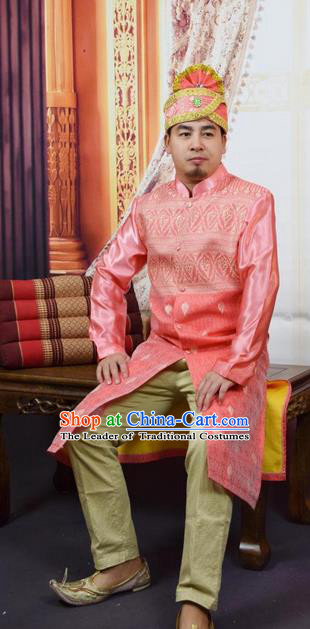 Traditional Traditional Thailand Male Clothing, Southeast Asia Thai Ancient Costumes Dai Nationality Pink Long Robe Dust Coat for Men