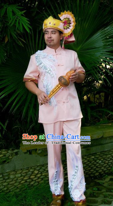 Traditional Traditional Thailand Male Clothing, Southeast Asia Thai Ancient Costumes Dai Nationality Pink Shirt and Pants Complete Set for Men