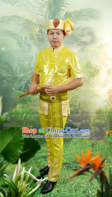 Traditional Traditional Thailand Male Clothing, Southeast Asia Thai Ancient Costumes Dai Nationality Embroidery Green Shirt and Pants Complete Set for Men