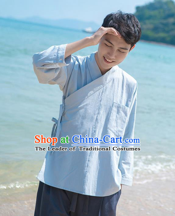 Traditional Chinese Ancient Male Costume, Elegant Hanfu Clothing Chinese Ancient Swordsman Hanfu Blouse for Men