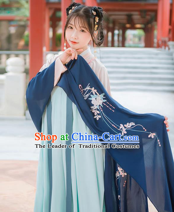 Traditional Chinese Tang Dynasty Palace Princess Embroidered Hanfu Navy Wearing Silks for Women