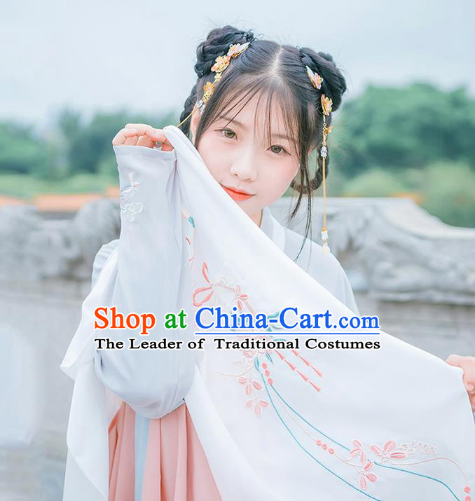 Traditional Chinese Tang Dynasty Palace Princess Embroidered Hanfu White Wearing Silks for Women