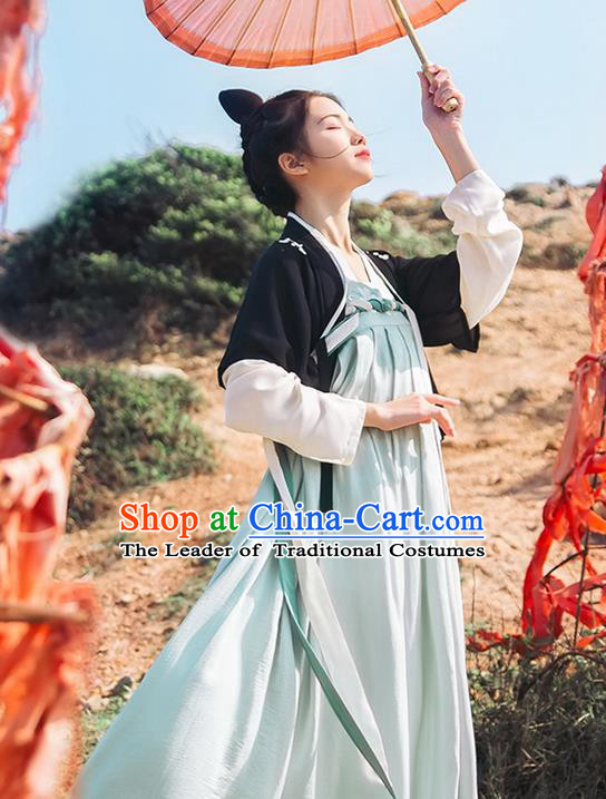 Traditional Chinese Tang Dynasty Palace Lady Costume Complete Set, Elegant Hanfu Clothing Embroidered Cardigan and Dress, Chinese Ancient Princess Clothing for Women