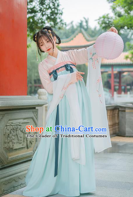 Traditional Chinese Tang Dynasty Palace Lady Costume Complete Set, Elegant Hanfu Clothing Embroidered Dress, Chinese Ancient Princess Clothing for Women