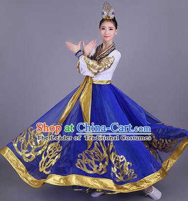 Traditional Korean Nationality Dance Costume, Chinese Minority Nationality Embroidery Hanbok Blue Dress for Women