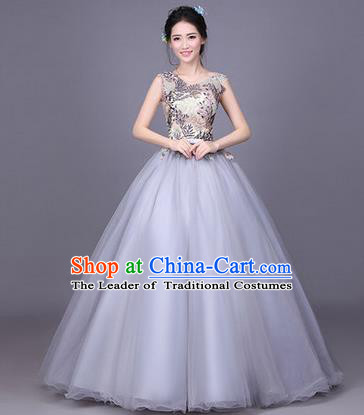Traditional Chinese Modern Dance Compere Performance Costume, China Opening Dance Chorus Full Dress, Classical Dance Big Swing Grey Veil Bubble Dress for Women