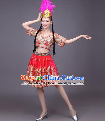 Traditional Chinese Uyghur Nationality Dancing Costume, Folk Dance Ethnic Costume, Chinese Minority Nationality Uigurian Dance Red Short Dress for Women