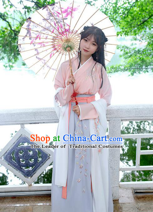 Traditional Chinese Tang Dynasty Palace Princess Embroidered Flowers Hanfu White Wide Wearing Silks for Women