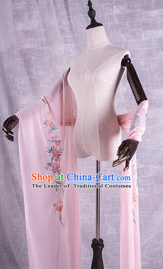 Traditional Chinese Tang Dynasty Palace Princess Embroidered Flowers Hanfu Pink Wide Wearing Silks for Women