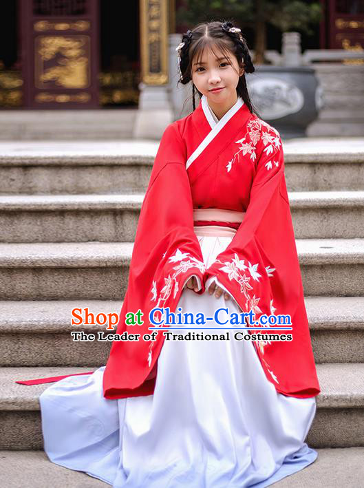 Traditional Chinese Han Dynasty Palace Princess Costume, Elegant Hanfu Clothing Embroidered Maple Leaf Blouse, Chinese Ancient Princess Clothing for Women