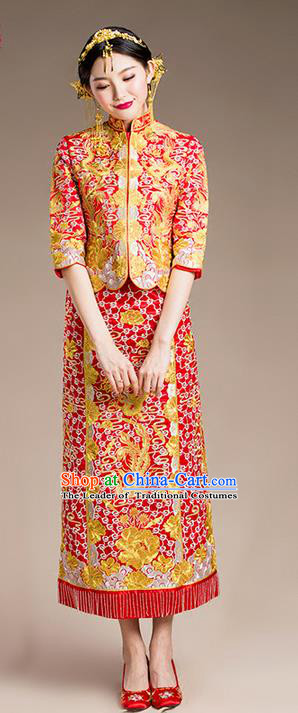 Traditional Chinese Wedding Costume Xiuhe Suits Wedding Slim Red Suit, Ancient Chinese Bride Toast Dress Hand Embroidered Clothing Longfeng Flown for Women