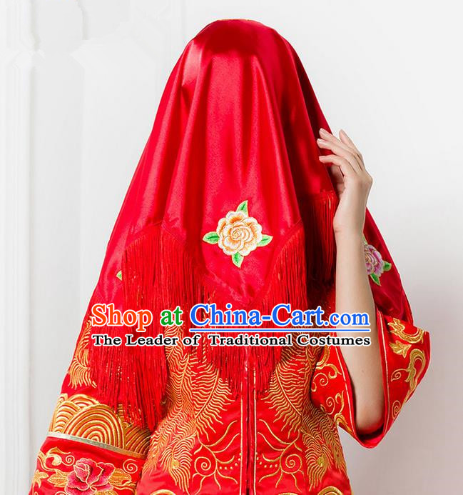 Traditional Chinese Wedding Costume Xiuhe Red Veil, Ancient Chinese Bride Embroidered Red Head Cover for Women