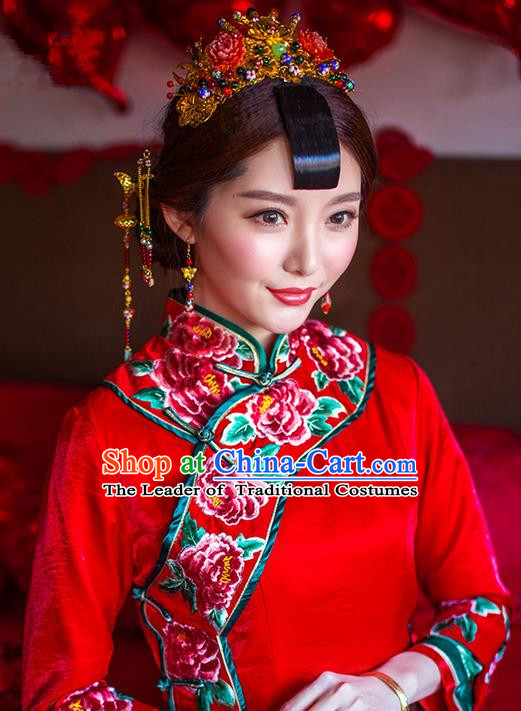 Traditional Chinese Wedding Xiuhe Suit Hair Accessories, Cnina Style Phoenix Coronet Tassel Step Shake, Ancient Chinese Bride Hairpins Head Ornament for Women