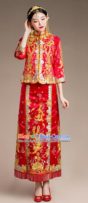 Traditional Chinese Wedding Costume Xiuhe Wedding Clothing Longfeng Flown, Ancient Chinese Bride Toast Hand Embroidered Dragon and Phoenix Slim Beading Cheongsam for Women