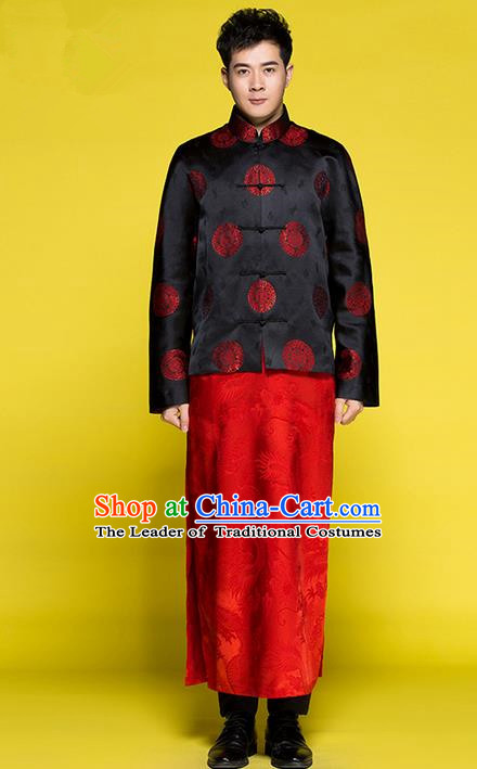 Traditional Chinese Wedding Costume Tang Suits Wedding Red Clothing, Ancient Chinese Manchu Bridegroom Toast Embroidered Long Flown for Men