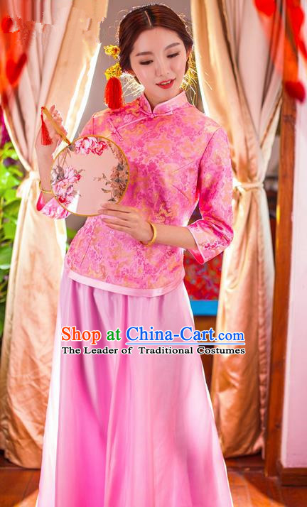 Traditional Chinese Wedding Costume Xiuhe Wedding Clothing, Ancient Chinese Bridesmaid Embroidered Pink Cheongsam Dress for Women