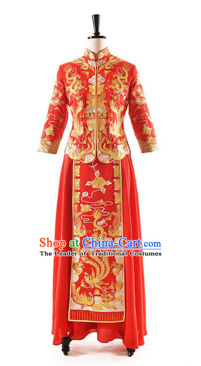 Traditional Chinese Wedding Costume XiuHe Suit Clothing Dragon and Phoenix Flown Slim Wedding Dress, Ancient Chinese Bride Hand Embroidered Phoenix Cheongsam Dress for Women