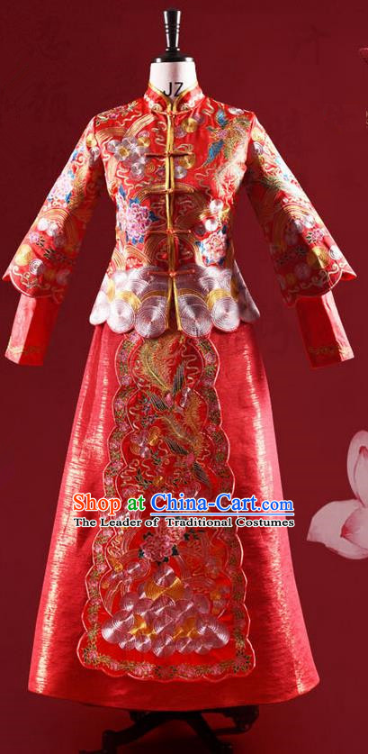 Traditional Chinese Wedding Costume XiuHe Suit Clothing Longfeng Flown Wedding Full Dress, Ancient Chinese Bride Hand Embroidered Cheongsam Dress for Women