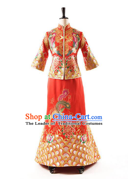 Traditional Chinese Wedding Costume XiuHe Suit Clothing Longfeng Flown Wedding Red Full Dress, Ancient Chinese Bride Hand Embroidered Phoenix Cheongsam Dress for Women