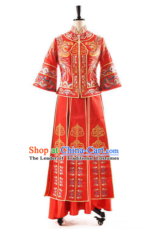 Traditional Chinese Wedding Costume XiuHe Suit Clothing Longfeng Flown Wedding Red Full Dress, Ancient Chinese Bride Hand Embroidered Cheongsam Dress for Women