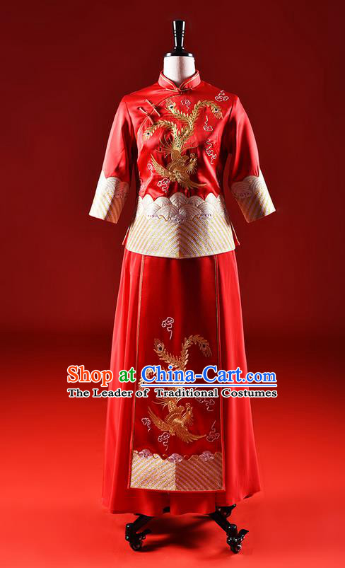Traditional Chinese Wedding Costume XiuHe Suit Clothing Dragon and Phoenix Wedding Red Full Dress, Ancient Chinese Bride Hand Embroidered Cheongsam Dress for Women