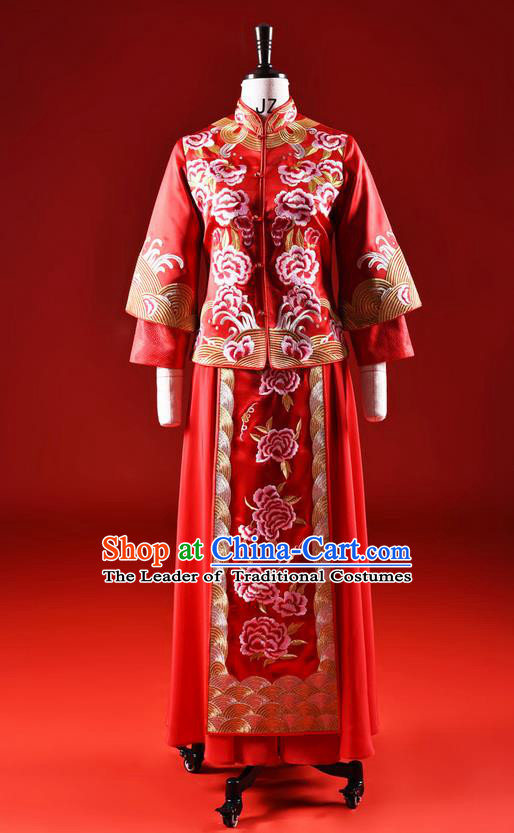 Traditional Chinese Wedding Costume XiuHe Suit Clothing Dragon and Phoenix Wedding Red Full Dress, Ancient Chinese Bride Hand Embroidered Peony Cheongsam Dress for Women
