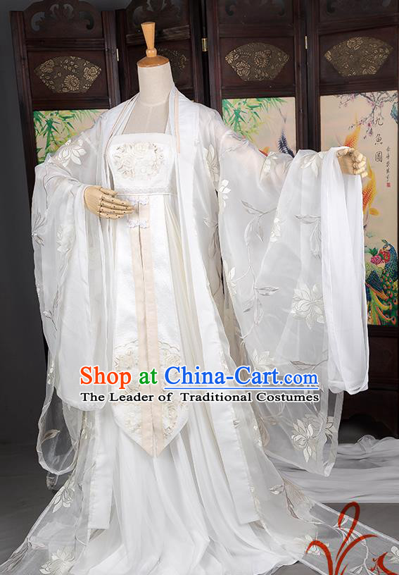 Traditional Chinese Swordswoman Costume, Elegant Hanfu Cosplay Clothing Ancient Chinese Peri White Dress for Women