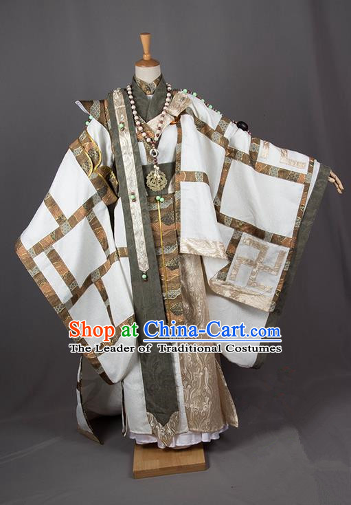 Traditional Chinese Han Dynasty Royal Highness Costume, Chinese Ancient Hanfu Jiang Hu Swordsman Prince Clothing for Men
