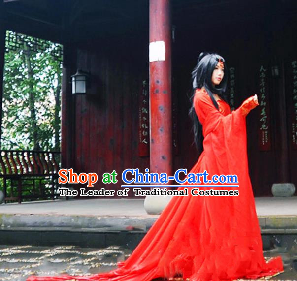 Traditional Chinese Tang Dynasty Peri Costume, Chinese Ancient Hanfu Imperial Princess Red Dress Clothing for Women