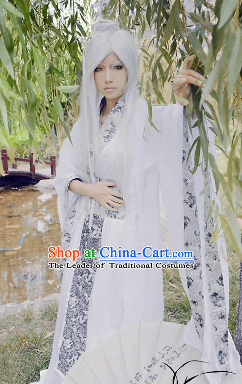 Traditional Chinese Cosplay Male Funsbau Costume, Chinese Ancient Hanfu Han Dynasty Swordsman Clothing for Men