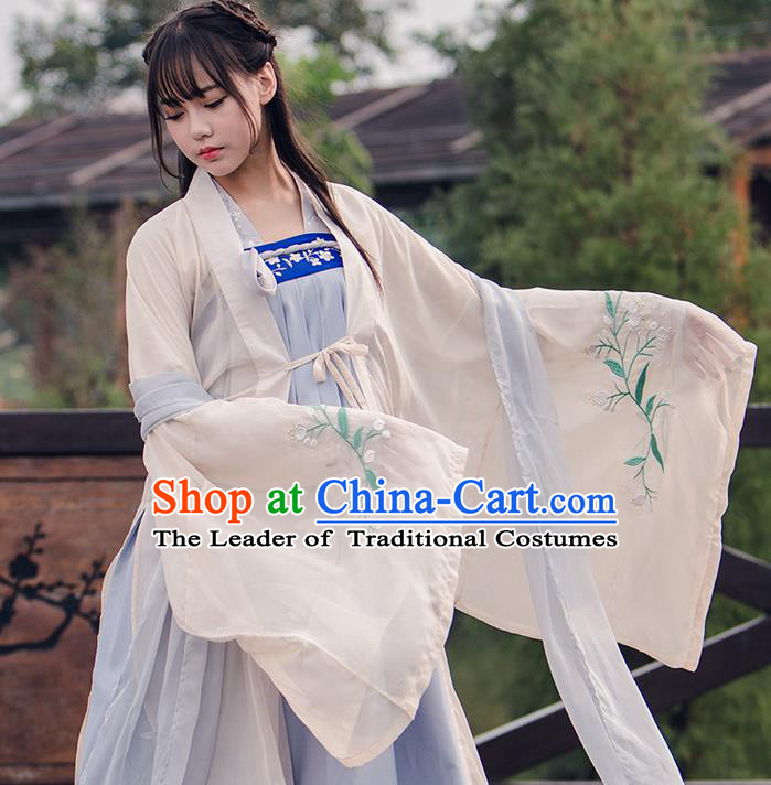 Traditional Chinese Han Dynasty Imperial Princess Costume, Elegant Hanfu Clothing Blouse and Skirts, Chinese Ancient Young Lady Embroidered Cardigan Dress for Women