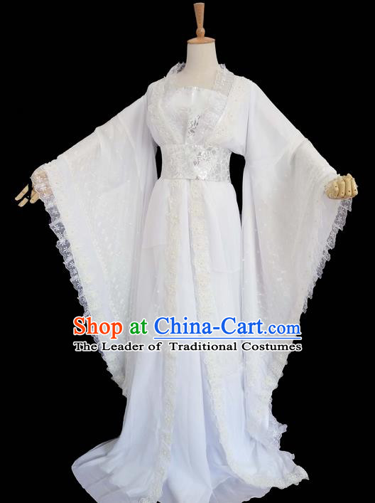 Traditional Chinese Han Dynasty Imperial Princess Costume, Elegant Hanfu Clothing Blouse and Skirts, Chinese Ancient Young Lady Embroidered White Lace Dress for Women