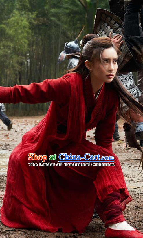 Traditional Ancient Chinese Swordswoman Costume and Headwear Complete Set, The Legend of the Condor Heroes Chinese Song Dynasty Heroine Hanfu Dress Red Clothing for Women