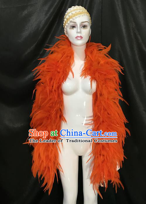 Traditional Brazilian Carnival Costumes Scarf Professional Samba Dance Dress Custom-made Customized Ostrich Feather Rio Carnival Scarf