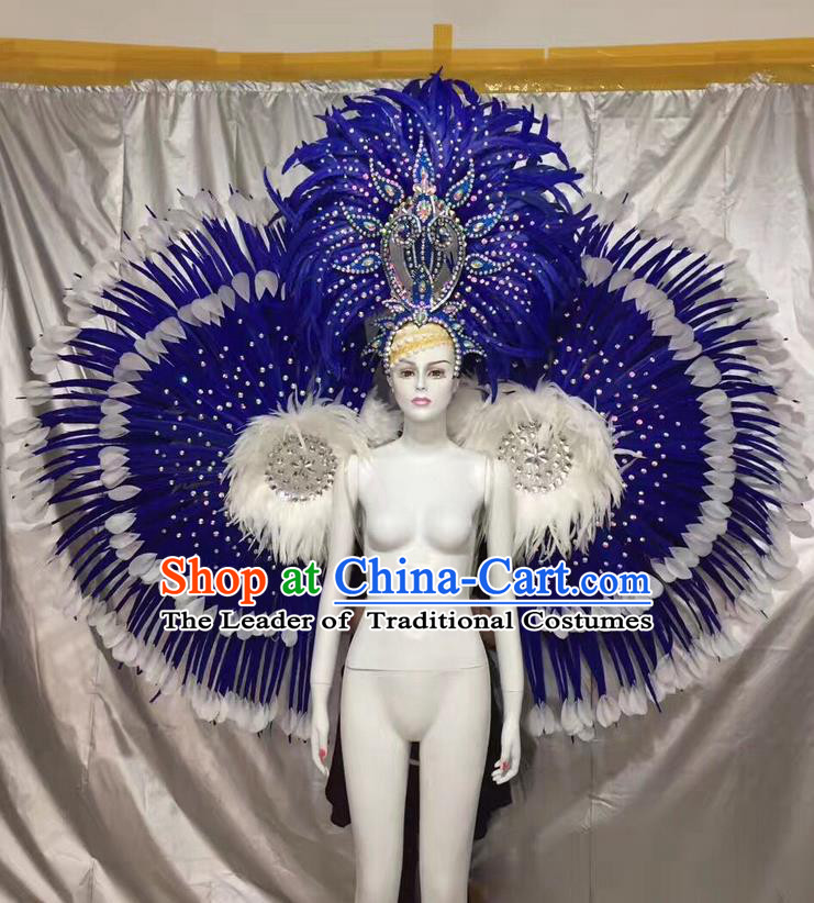 Top Grade Compere Professional Performance Catwalks Costumes Props and Headwear, Traditional Brazilian Rio Carnival Samba Opening Dance Blue Ostrich Feather Wings Suit Fancywork Clothing for Women