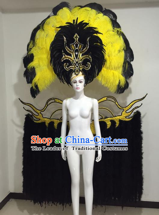 Top Grade Compere Professional Performance Catwalks Miami Feathers Deluxe Wings and Large Headpiece, Traditional Brazilian Rio Carnival Samba Opening Dance Custom-made Customized Suits Clothing for Women