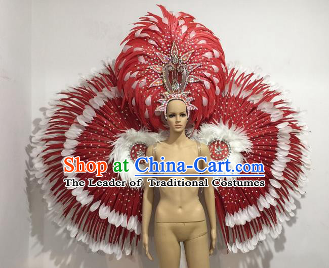 Top Grade Professional Performance Catwalks Red Feather Wings and Headwear, Brazilian Rio Carnival Samba Opening Dance Custom-made Customized Props Clothing for Women