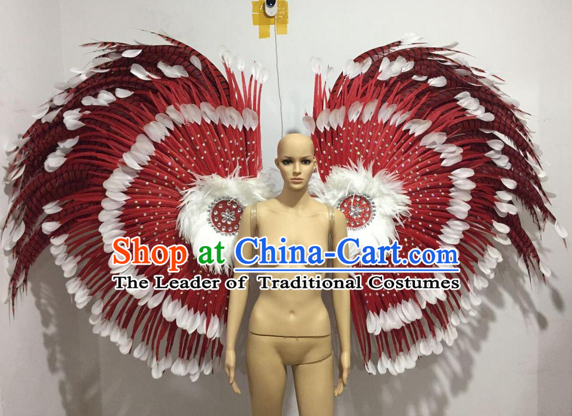 Top Grade Professional Stage Show Catwalks Long Feather Wings, Brazilian Rio Carnival Samba Opening Dance Custom-made Customized Props Clothing for Women