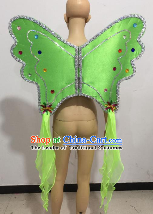 Top Grade Professional Stage Show Catwalks Halloween Green Butterfly Wings, Brazilian Rio Carnival Samba Opening Dance Custom-made Customized Backboard Accessories Props for Women