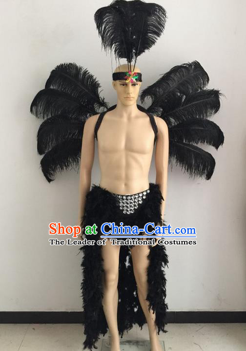 Top Grade Professional Stage Show Catwalks Halloween Black Feather Wings Costumes, Brazilian Rio Carnival Samba Opening Dance Custom-made Customized Swimsuit Clothing for Men