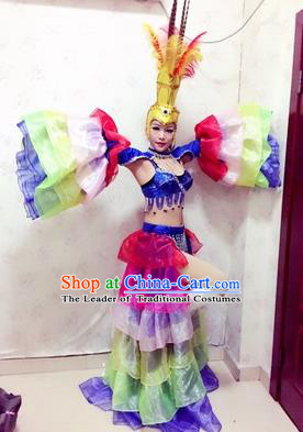 Top Grade Professional Stage Show Catwalks Halloween Dance Costumes, Brazilian Rio Carnival Samba Opening Dance Dress Custom-made Customized Big Swing Clothing for Women