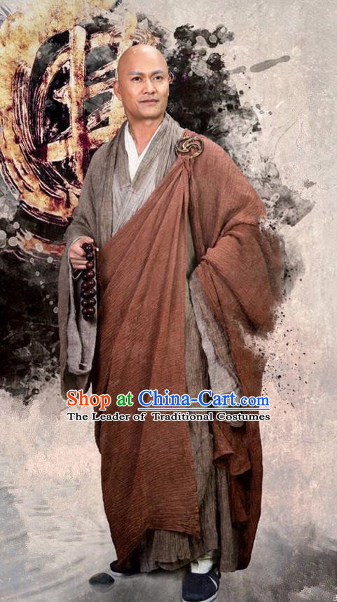 Traditional Ancient Chinese Monk Costume, The Legend of the Condor Heroes Frock Chinese Song Dynasty Buddhism Master Clothing for Men