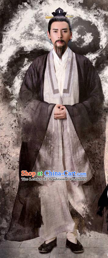 Traditional Ancient Chinese Taoist Priest Costume, The Legend of the Condor Heroes Priest Frock Chinese Song Dynasty Taoism Master Robe Clothing for Men