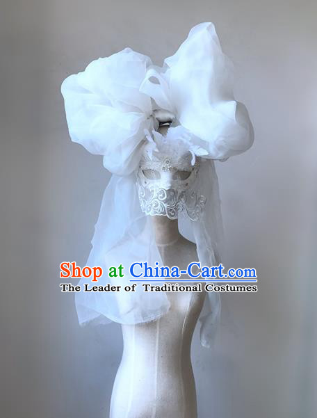 Top Grade Chinese Theatrical Luxury Headdress Ornamental White Lace Headwear and Mask, Halloween Fancy Ball Ceremonial Occasions Handmade Veil Headpiece for Women