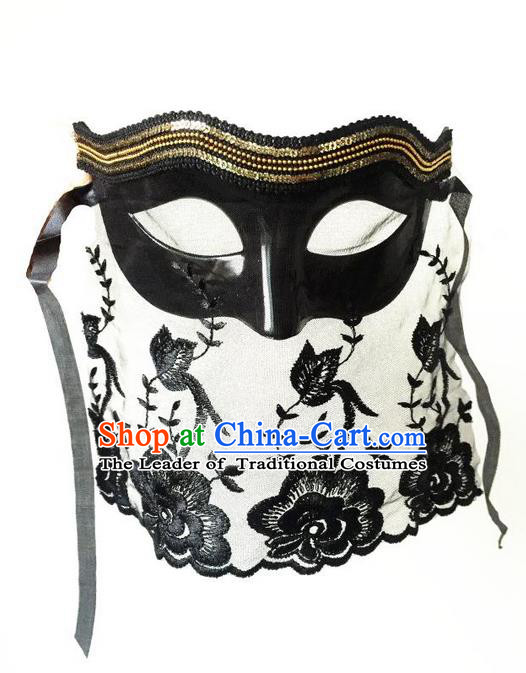 Top Grade Chinese Theatrical Luxury Headdress Ornamental Black Veil Mask, Halloween Fancy Ball Ceremonial Occasions Handmade Lace Mask for Women